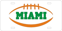 Miami, University of Miami Pigskin Silver-Orange License Plate