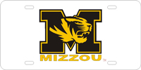 Missouri University - M Tiger MIZZOU Silver-Black-Gold License Plate