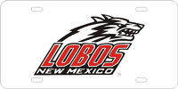 New Mexico, Univers of - Lobos New Mexico Silver-Black-Red License Plate