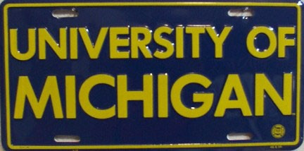 LP-891 Univ of Michigan License Plate - 418